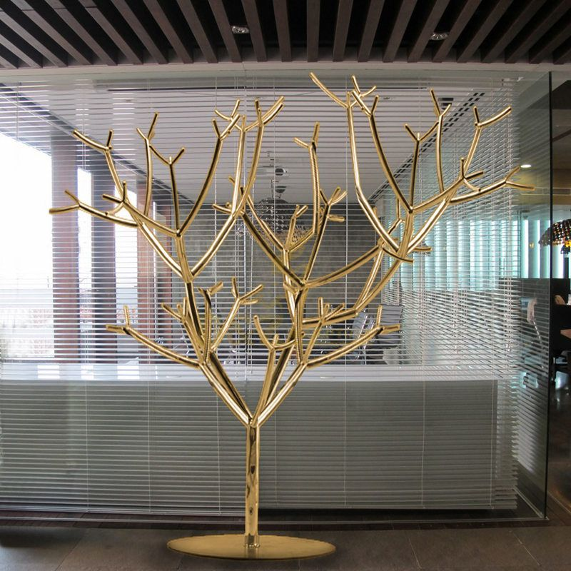 Modern Abstract Metal Stainless Steel Sculpture Tree