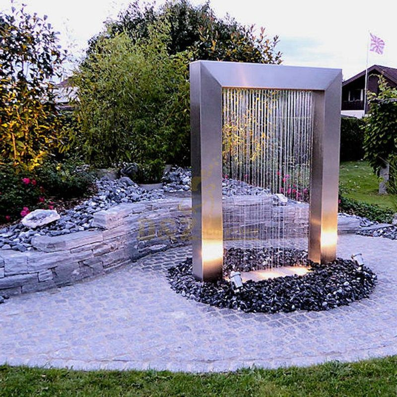 Garden stainless steel outdoor waterfall fountain for home decoration