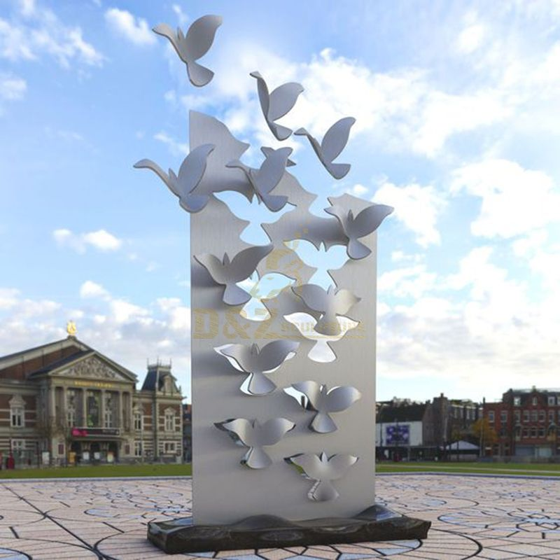 Large Outdoor Stainless Steel Outdoor Abstract Pigeon Sculpture