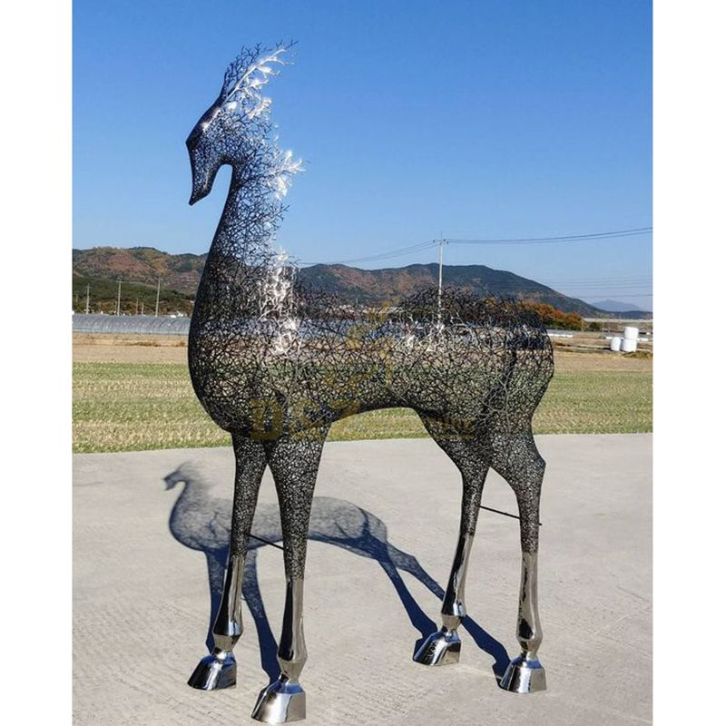 Outdoor Life Size Abstract Stainless Steel Deer Statue
