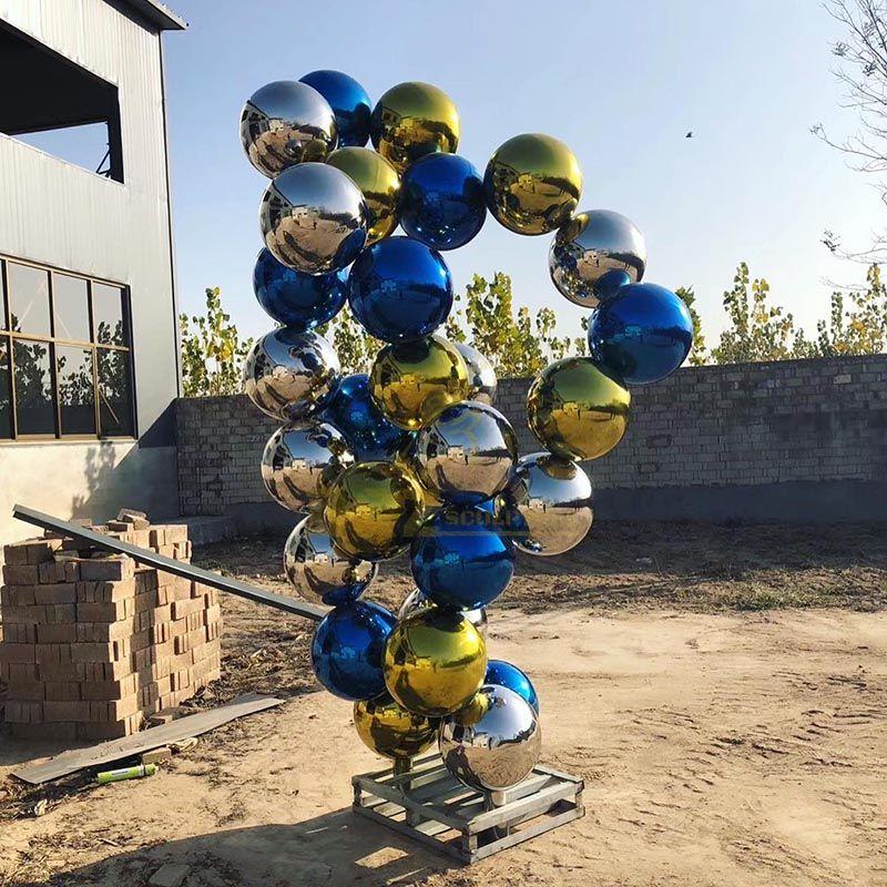Newest design hollow ball Stainless steel sphere sculpture
