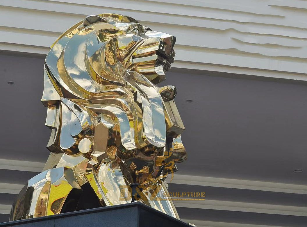 Life size stainless steel planted lion sculpture outdoor stainless steel animal sculpture