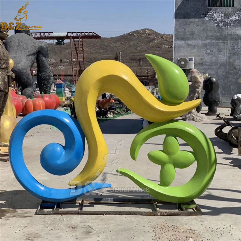outdoor custom colorful abstract bike with people bicycle sculpture metal cycle sculpture